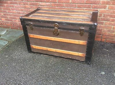 Large Vintage Chest travelling trunk shipping box storage coffee table.
