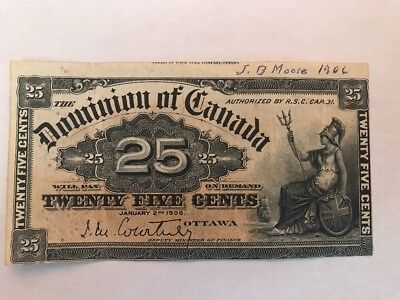 1900  Dominion Of Canada 25 Cents  Fractional Banknote DC-15a  Very Fine