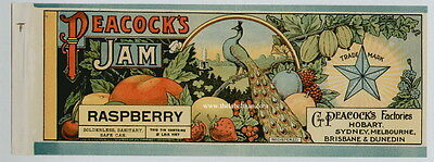 PEACOCK'S Vintage Raspberry Jam Can Label, **AN ORIGINAL 1890's TIN CAN LABEL**