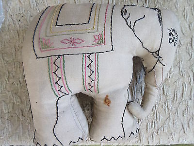 Antique Vintage Cloth Handmade Elephant Pillow Toy