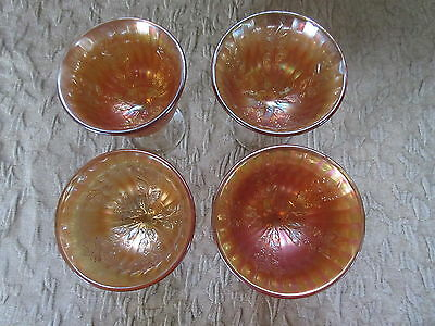 Set of 4 Antique Carnival Glass Fenton Holly Goblets Marigold