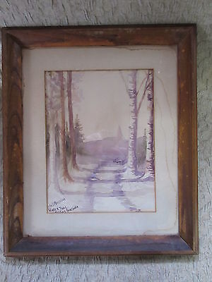 Old Watercolor Painting by John B Morrison Winter Trail Pictou Nova Scotia