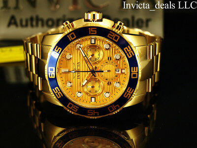 NEW Invicta Men's 50mm Pro Diver Chronograph Gold Dial Gold Tone SS Watch