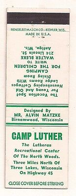 Camp Luther Highway 45, Three Lakes WI Oneida Matchcover 083017