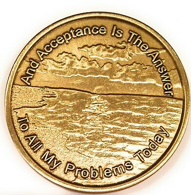 Acceptance Is The Answer Beach Sunrise Bronze AA Medallion Chip  449 417