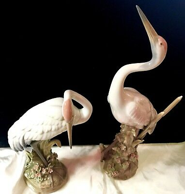 TWO RETIRED LlADRO CRANES`