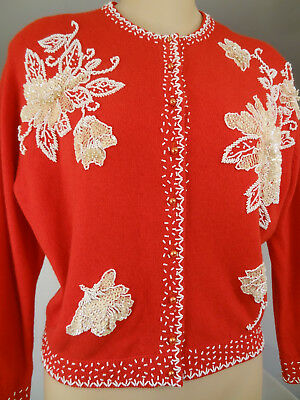 Vtg 50s/60s Flower Drum Red Lambswool Beaded/Sequins Pin-up Cardigan Sweater-M