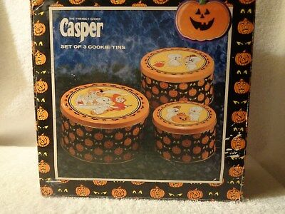 Vintage CASPER THE FRIENDLY GHOST Halloween Set of 3 Tins Harvey Comics 1986