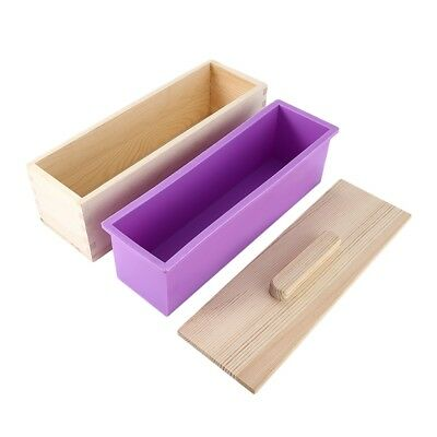 Rectangular DIY Handmade Soap Craft Silicone Mold Wooden Box + Cover 900 1200 g