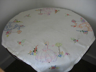 "VINTAGE IRISH LINEN TABLECLOTH HAND EMBROIDERED CRINOLINE LADIES 33"" x 33 """