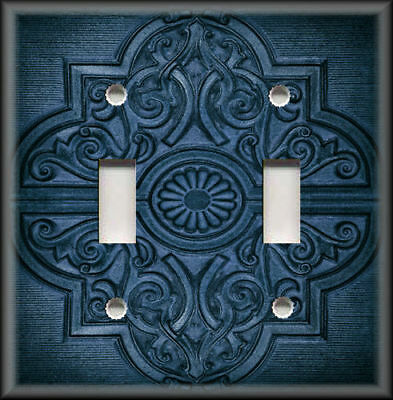Metal Light Switch Plate Cover - Rustic Medallion Home Decor Dark Blue Wallplate