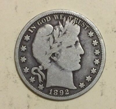 1892 Barber Half Dollar, Tough Date, Better Grade