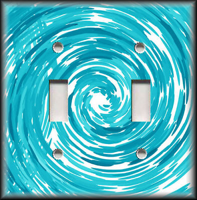 Metal Light Switch Plate Cover Abstract Art Swirl Home Decor Turquoise Blue