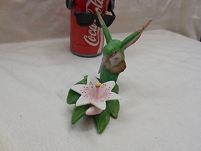 New Hand Painted Porcelain Bisque Ruby Throated Hummingbird With Lilly