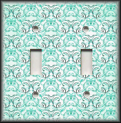 Metal Light Switch Plate Cover - Vintage Art Nouveau Design Decor Mint Green