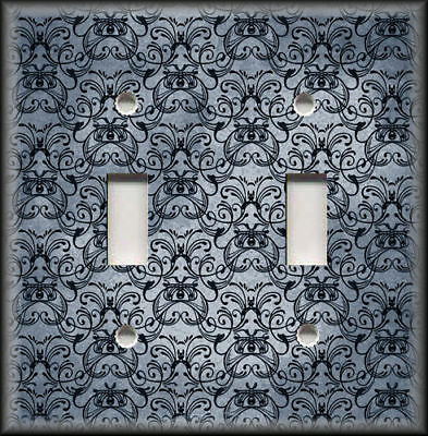 Metal Light Switch Plate Cover - Vintage Art Nouveau Design Decor Blue Grey