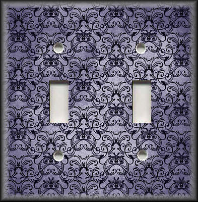 Metal Light Switch Plate Cover - Vintage Art Nouveau Design Decor Dark Purple