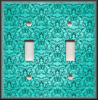 Metal Light Switch Plate Cover - Vintage Art Nouveau Design Decor Turquoise Blue