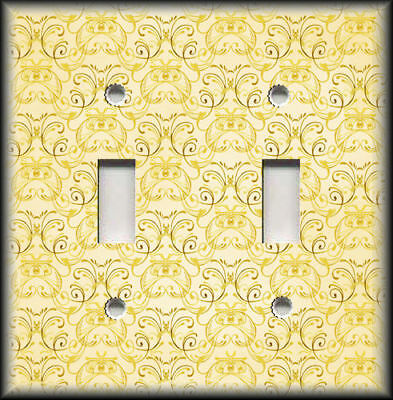 Metal Light Switch Plate Cover Wallplate Vintage Art Nouveau Design Decor Yellow