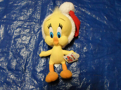 Warner Bros Tweety Bird Stuffed Plush w/ Santa Hat BRAND NEW