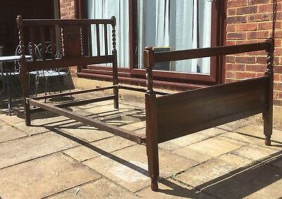 Vintage Wooden Barley Twist Carved Bedstead - Small double.
