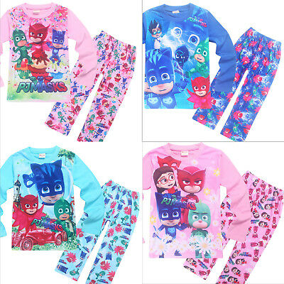 New Kids Boys Girls PJ Masks Cartoon Long sleeve T shirt & pant Set Pyjamas Set