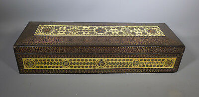 Superb Antique 19Th Century Anglo Indian Inlaid Sedeli Work Copper Ebony Box