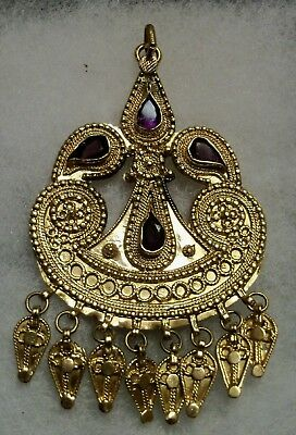 Vintage Antique Saudi Arabia HAND CRAFTED 21c SOLID GOLD AMETHYST PENDANT