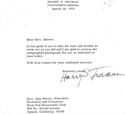 Harry S Truman - Typed Letter Signed 03/14/1972