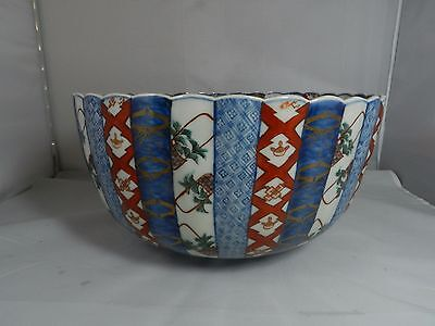Antique Japanese Imari Meiji Large Paneled Punchbowl Punch Bowl 12""