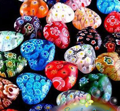 Wholesale Lots 100pcs Shining Heart Millefiori Glass Craft Beads 8mm Multi-Color