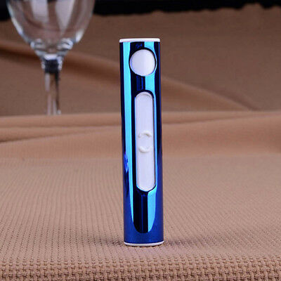 Electronic Windproof Mini Recharge USB Lighter Heated Metal Shell Cigarette Blue