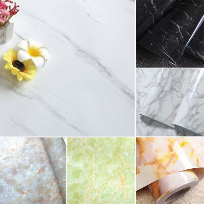 Marble Effect Contact Paper Film Self Adhesive Peel-stick Decor Glossy Worktop
