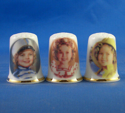 Fine Porcelain China Thimbles - Set Of Three Shirley Temple Film Characters