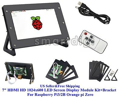 "US 7"" HDMI HD 1024x600 LED Screen Display Module Kit+Case For Raspberry Pi3/2B"