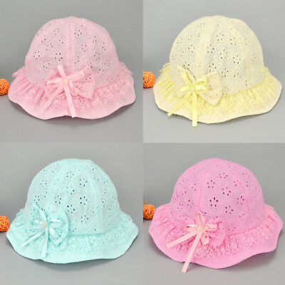 Bucket Bow Embroidered Flower Beach Summer Sun Cute Kids Cap Mesh Baby Hat