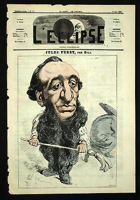 PORTRAIT OF JULES FERRY Cartoon 1869