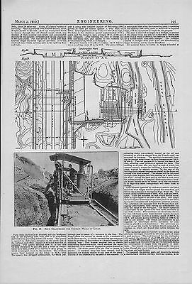 "1910 engineering  illustration ""  rock channeller for curtain walls of a lock  """