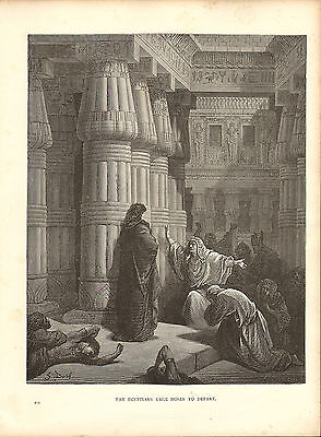dore gallery engraving from the 1870s : the egyptians urge moses to depart