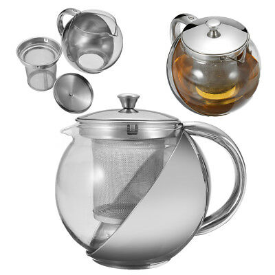 750ml Glass & Stainless Steel Teapot Kettle with Removable Mesh Infuser Filter