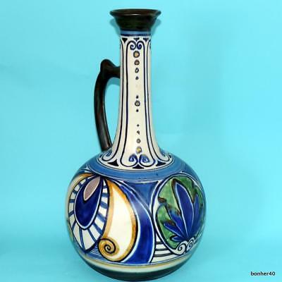 Plateel Art Craft Gouda Zuid Holland Dutch Folk Art Deco/nouveau Vase Damascus