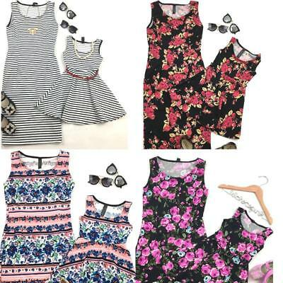Summer Floral Mother Daughter Matching Dresses Summer Girl Dress Clothes Outfit