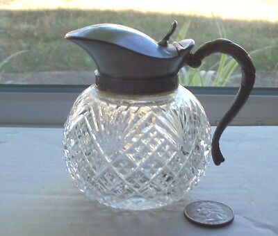 Nice Early Cut Glass Fancy Condiment With Working Metal Top