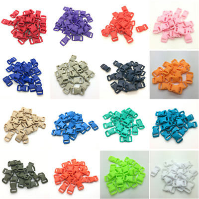 """10/50/100pcs Mini 3/8"""" 10mm Curved Side Release Buckle for Paracord Bracelet"""