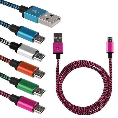 3/6/10ft Aluminum Braided Micro USB Data&Sync Chargeur Cable For Android Phones