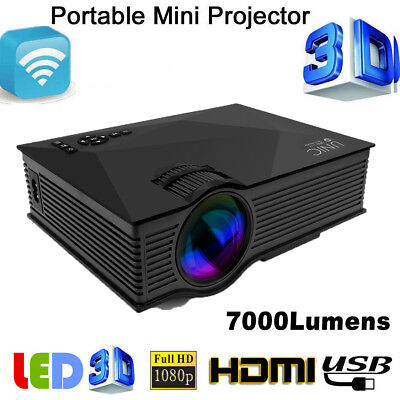 Mini 7000Lm Full HD 1080P LED Video Home Cinema Projector With WIFI Ready Black
