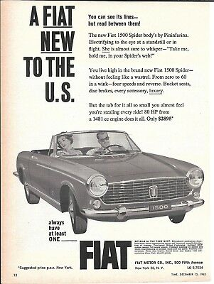 1964 Fiat 1500 Spider Car New To The U.S. Ad