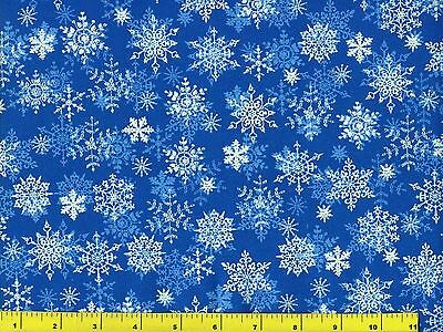 White Snowflakes On Blue Christmas Quilting Fabric By Yard 3104