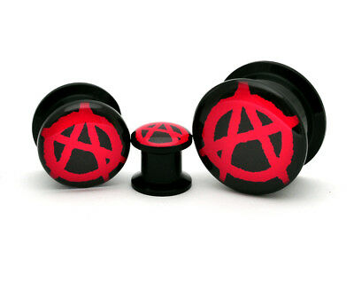 Pair of Black Acrylic Anarchy Picture Plugs gauges 8g through 1 inch