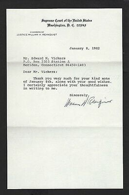 William Rehnquist signed letter dated January 8, 1982 Supreme Court Justice